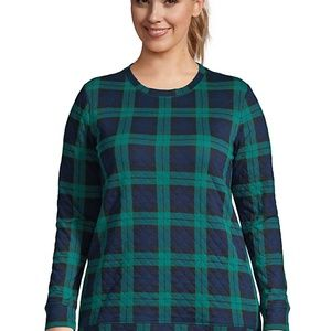 Land's End Plaid Quilted Sweatshirt Tunic Size 1X
